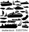 collection of sea tranportation vector 1(cruise, motor-yatch, sailing boat) - stock vector
