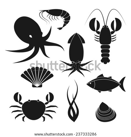 Collection of seafood icons in flat style isolated on white backgrond - stock vector