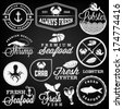 Collection of Seafood Restaurant Labels, Badges and Icons in Vintage Style - stock vector