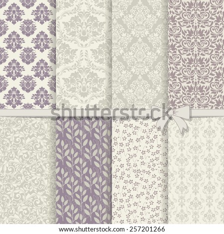 collection of seamless damask pattern in violet and grey - stock vector