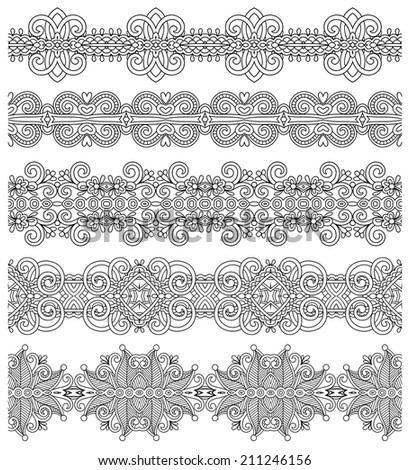 collection of seamless ornamental floral stripes, black and white collection