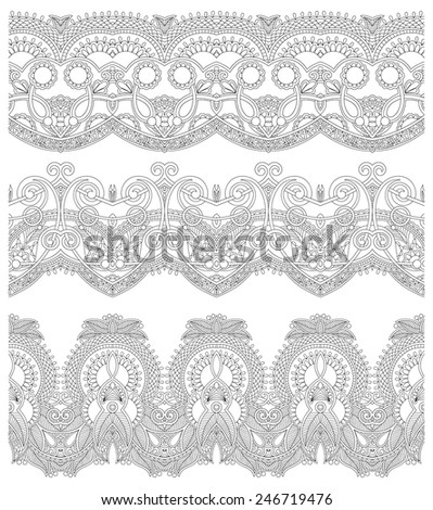 collection of seamless ornamental floral stripes, black and white collection. Vector illustration - stock vector