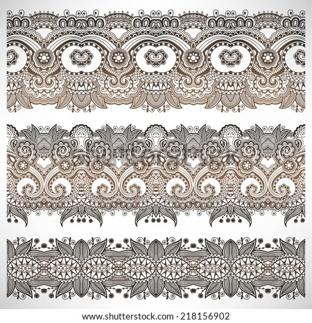 collection of seamless ornamental floral stripes, lace paisley decoration, vector illustration