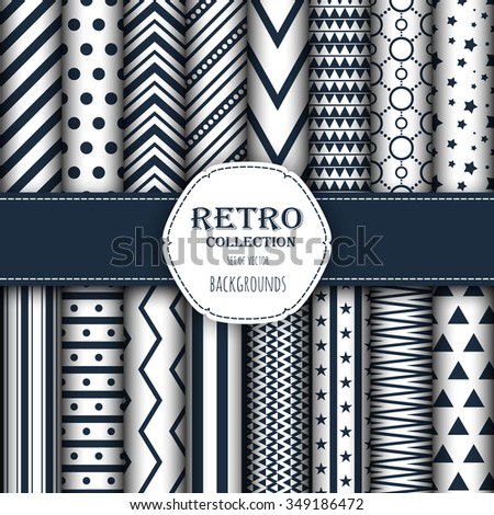 Collection of seamless patterns for wallpapers, pattern fills, web backgrounds, birthday and wedding cards. Dark and white colors. - stock vector