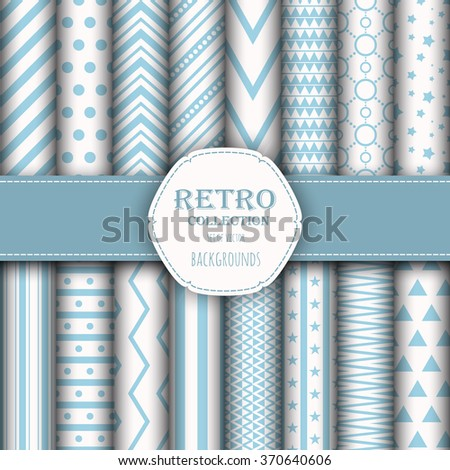 Collection of seamless patterns for wallpapers, pattern fills, web backgrounds, birthday and wedding cards. Blue and white colors. - stock vector