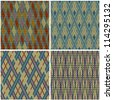 Collection of seamless patterns in traditional Jacquard style - stock vector