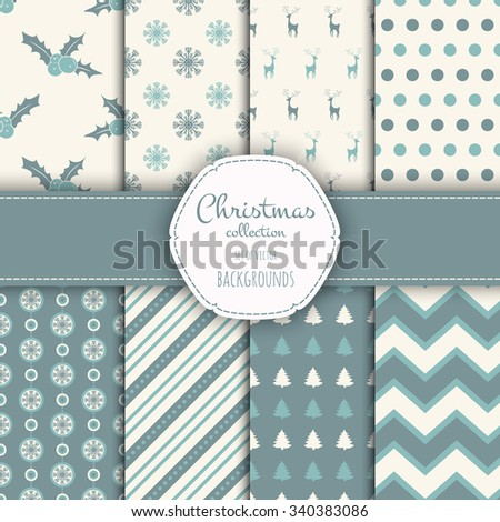 Collection of seamless patterns. Merry Christmas and Happy New Year! Set of seamless backgrounds with traditional symbols:  snowflakes, pine tree,holly berry and suitable abstract patterns.  - stock vector