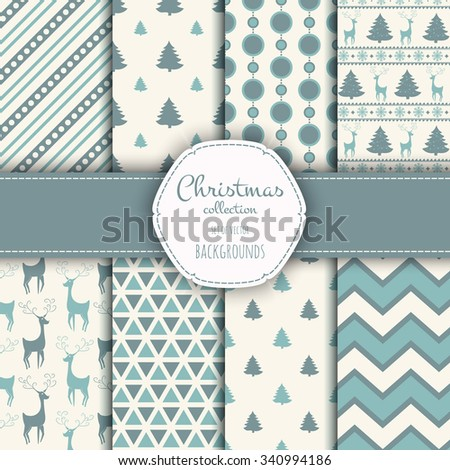Collection of seamless patterns. Set of seamless backgrounds with traditional symbols:  snowflakes, pine tree, deer and suitable abstract patterns.  - stock vector