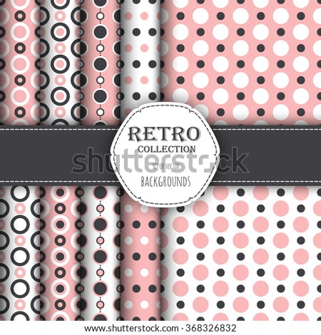 Collection of seamless patterns with polka dot and jumbo polka dot. Perfect for wallpapers, pattern fills, web backgrounds, birthday and wedding cards - stock vector