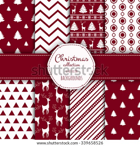 Collection of seamless patterns with red and white colors.  Set of seamless backgrounds with traditional symbols: snowflakes, pine tree,deer and suitable abstract patterns.  - stock vector