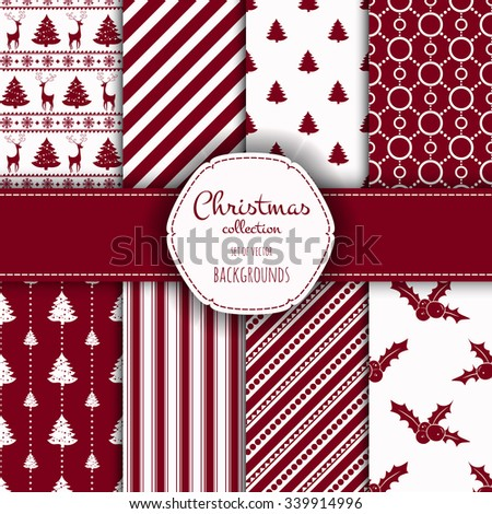 Collection of seamless patterns with red and white colors.  Set of seamless backgrounds with traditional symbols: snowflakes, pine tree,deer,holly berry and suitable abstract patterns.  - stock vector