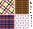 Collection of seamless Retro checked cotton pattern - stock vector
