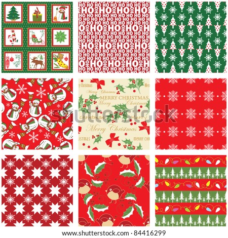 Collection of Seamless Xmas Patterns - stock vector