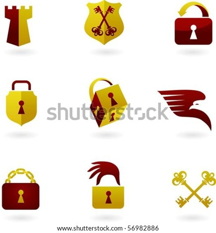 Collection of security icons - stock vector