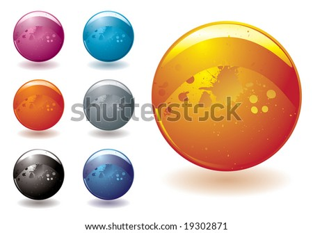 Collection of seven bright buttons designed for the web