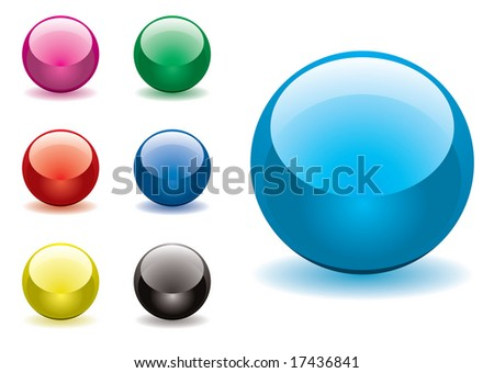 Collection of seven round gel filled icon buttons - stock vector