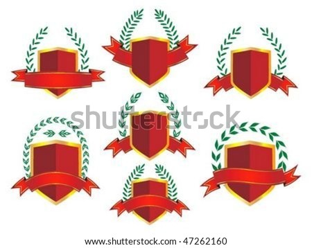 Collection of shield with laurels - stock vector