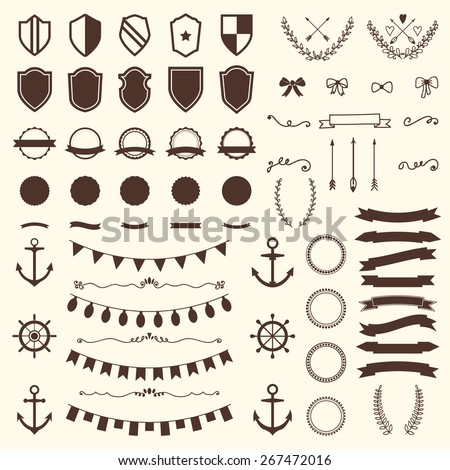 Collection of shields, badges and labels. Vector design elements. Vintage hipster labels, arrows, bows, anchors and rudders. Vector illustration - stock vector