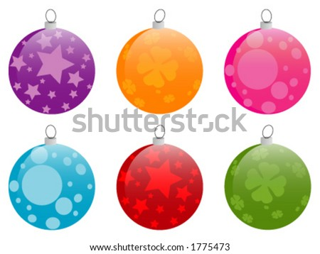 Collection of 6 shiny chrismas baubles, completely adaptable to your own taste and needs. - stock vector
