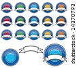 Collection of 15 shiny Web 2.0 style vector buttons (Blue Banner Set) - stock vector