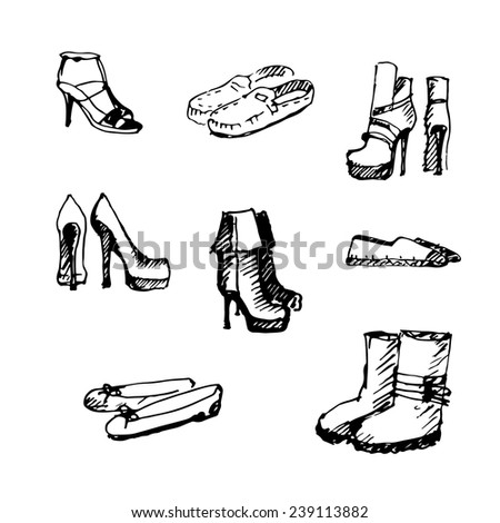 Collection of shoes. Hand Drawn. Vector illustration. - stock vector