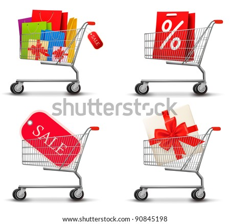 Collection of shopping carts full of shopping bags and gift boxes. Concept of discount. Vector. - stock vector