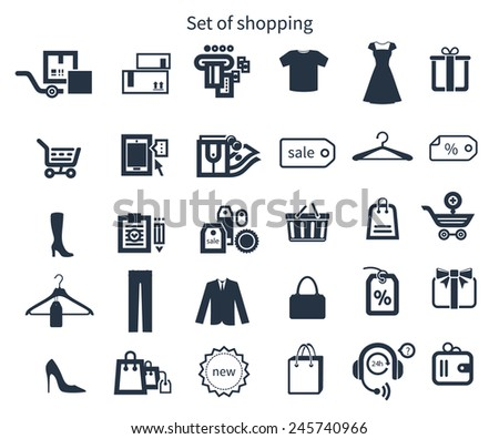 Collection of shopping icons such as tag, sticker, basket, bag, clothes rack, gift in black color isolated on white background - stock vector