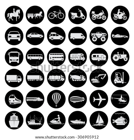 Collection of signs presenting different modes of transport on land, water and in the air. Vintage and modern means of transportation. Transportation icons. Vector illustration. - stock vector