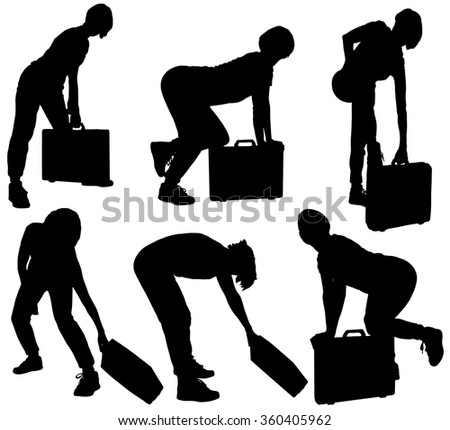Collection of silhouettes of a girl with a suitcase for travel isolated on white background - stock vector