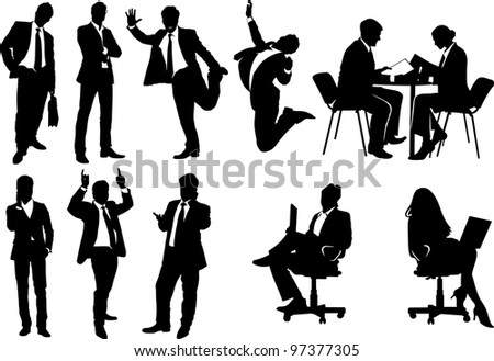 collection of silhouettes of business people - stock vector