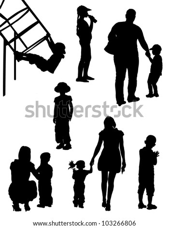 Collection of silhouettes of children with parents - stock vector
