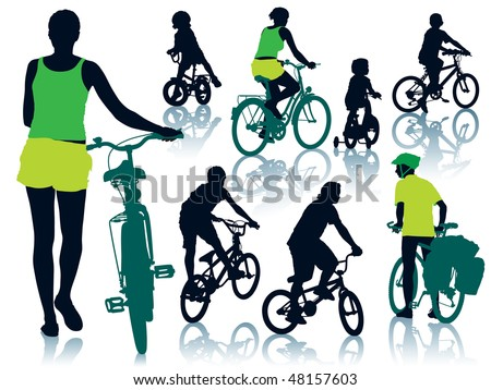 Collection of silhouettes of cycling people. Vector illustration. - stock vector