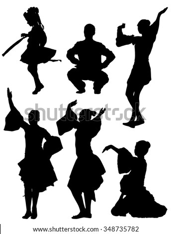 Collection of silhouettes of dancing children - stock vector