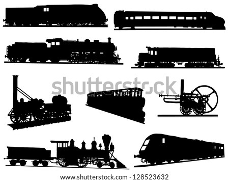 Collection of silhouettes of engines and trains - stock vector