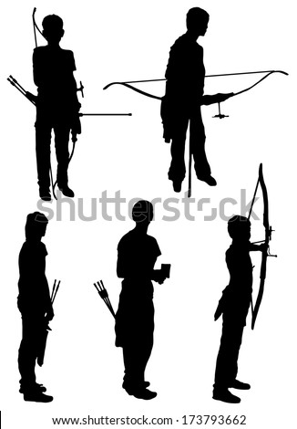 Collection of silhouettes of people of archers  - stock vector