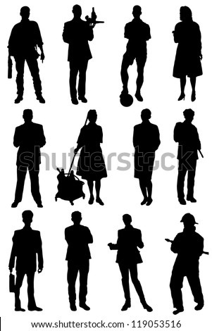 Collection of silhouettes of people of different specialty - stock vector