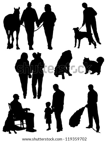 Collection of silhouettes of people with animals and married couples