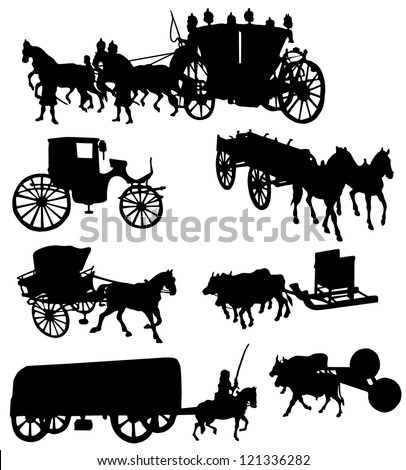 Collection of silhouettes of vintage carriages - stock vector