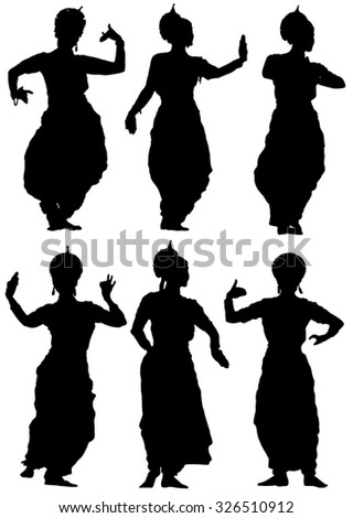 Collection of silhouettes Oriental dances of women - stock vector