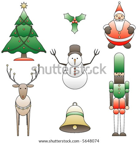 Collection of simple holiday vector images - stock vector
