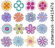 Collection of single vector flowers - stock vector