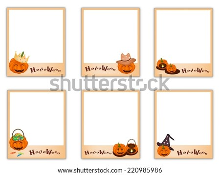 Collection of Six Blank Instant Photo Prints or Instant Camera with Halloween Evil and Halloween Item, Sign for Halloween Celebration.  - stock vector