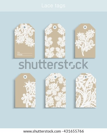 Collection of six bobbin lace paper texture cute ready-to-use gift tags. Set of 6 printable hand drawn holiday label in white blue brown. Vector seasonal badge design - stock vector