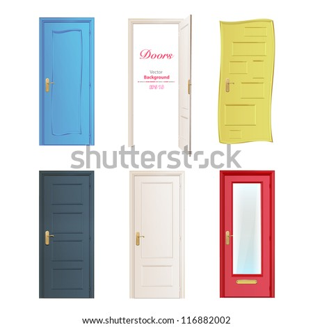 Collection of six colorful doors isolated on white. Vector design. - stock vector
