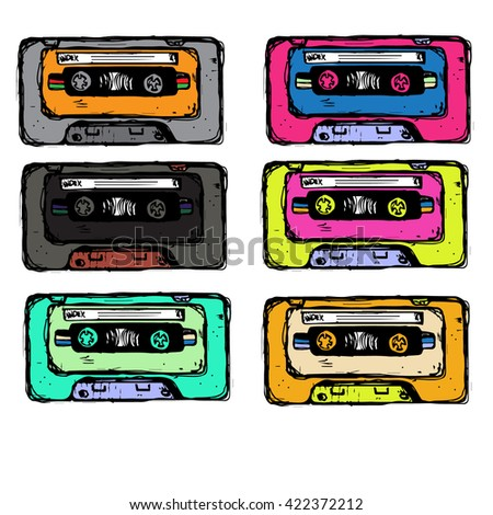 Collection of six colorful plastic audio cassette tape. Set of different color music tapes. old technology, realistic retro design, vector art image illustration, isolated on white background eps10 - stock vector