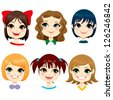 Collection of six little girls with different hairstyles - stock photo
