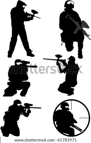 Collection of six paintball figures in silhouette - stock vector