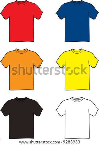 collection of six tshirts in different colours with a black outline - stock vector