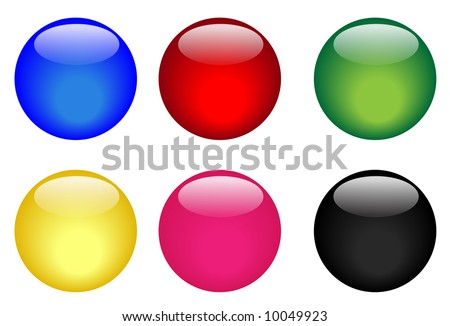 Collection of six vector illustrated glassy looking buttons (blue, red, green, yellow, pink and black). See my portfolio for more.