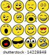 Collection of sixteen smiles. Vector illustration - stock vector